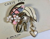 Vintage Collage Brooch pink cream heart dangle swirl gold tone pin