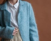baby blue mohair jacket /  fuzzy knit mohair cardigan sweater / boucle wool sweater / s / m / 2142t / B21