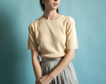 silk pale yellow ribbed knit tee / short sleeve knit sweater / knit t shirt / s / 1843t / B18