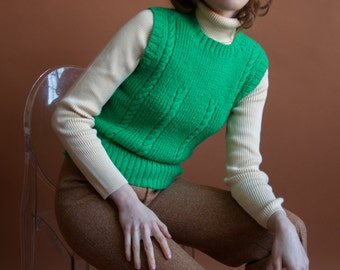 kelly green cable knit sweater vest / chunky knit sweater vest / s / 2086t / B21