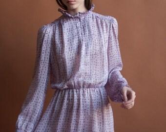silk sheer floral ditsy print dress / ruffle collar tea dress / puff sleeve mini dress / s / 2076d / B4
