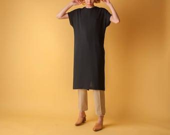 black sack dress / little black black dress / black minimalist dress / s / m / 1597d / B3