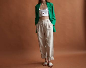 green woven boyfriend blazer / woven summer jacket / long minimalist blazer / s / m / 2207o