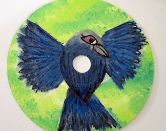 flying Black Bird, Raven, Crow painting - art on recycled CD, gothic wall art, bird room decor, animal lovers gift