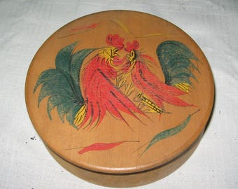 Vintage wood hamburger press painted roosters