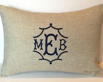 PAGODA font Monogram Pillow Cover. Chinoiserie Home Decor.  12 x 16 Decorative Pillow. Luxe Wedding Gift. Dorm Decor. Baby Gift. SewGracious
