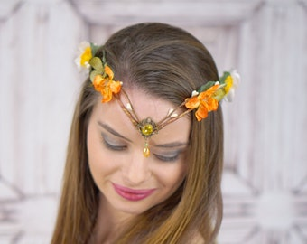 Elven Crown in Autumn Colors, Flower Crown, Costume Headdress, Elven Tiara, Woodland, Cosplay Headpiece, Fantasy, Larp