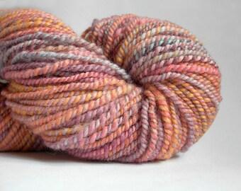 100% Corriedale Wool Handspun - Melon and Mauve - Pretty Spring Colors - DESTASH