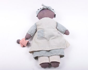 Vintage, African American, Rag Doll, Mom and Baby, Set, Vintage, Folk Art, Americana, Amish, No Face ~ The Pink Room ~ 161025