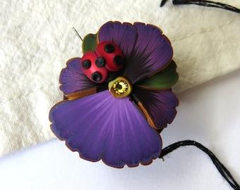 Purple Pansy Flower with a Ladybug Needle Minder, Needle Nanny, Sewing Needle Magnet