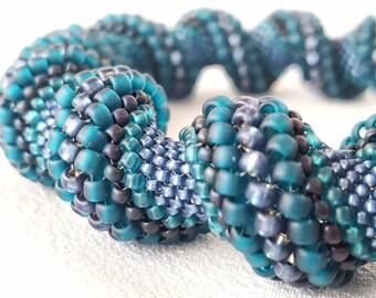 Twilight Teal Cellini Spiral Beadwoven Bangle Bracelet