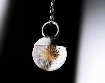 Dandelion Necklace, Dandelion Pendant, Real Dandelion Sphere, Resin Jewelry, Silver Jewelry, Make a wish