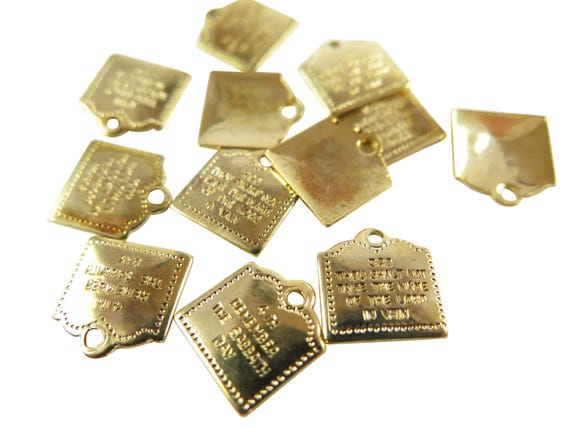 Random Mix Of Vintage Gold Plated 10 Commandments Charms