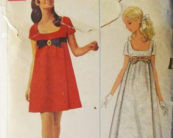1960s Vintage Sewing Pattern Butterick 4924 Misses' One-Piece Evening Dress Pattern Size 9 Bust 31 1/2