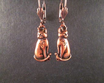 CAT Earrings, Sitting Pretty, Copper Kitty Dangle Earrings, FREE Shipping U.S.