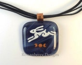 Leaping Hare and Triple Goddess - Handmade Fused & Painted Glass Pendant Necklace - Rowanberry SRA