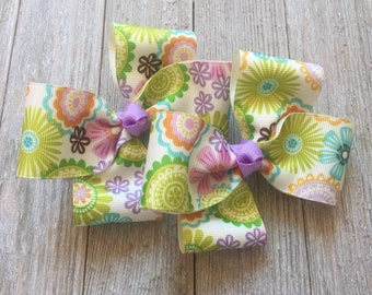 Colorful Floral Hair Bows,French Barrettes,4.5 Inches Wide,Pigtail Hair Bows,Floral Hair Bows,Birthday Party Favors,Ready to Ship