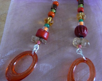 Melisandre's Transformation. Jewelry, earrings, red, orange, dangle, wire, Valentine, gift for her, stone, vintage, ethnic.
