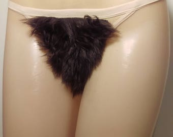 Size Medium Merkin Thong Back Brown Faux Fur Pubic Hair Wig Merkin33