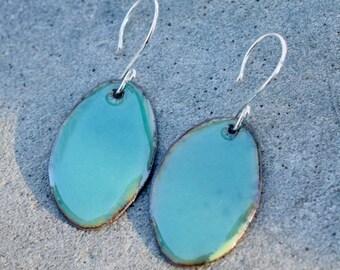 Enamel Copper Oval Earrings Blue Green