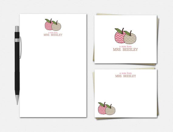 Chevron Apples Teacher Stationery