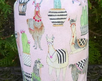 Llama knitting project bag, WIP bag, drawstring bag, Llama and Cactus in pink,  Suebee