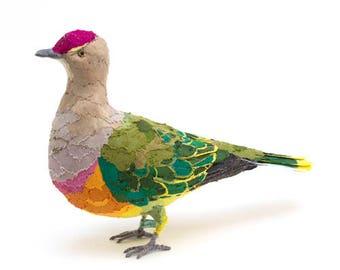 ROSECROWNED FRUIT DOVE - Fabric Bird Sculpture