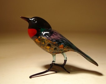 Handmade Blown Glass  Art Figurine Black and Dark Red Bird