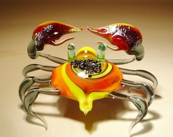 Handmade Blown Glass Figurine Art Sea Creature Red & Yellow CRAB with Red Claws