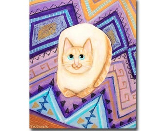 Flame Point Siamese on Aztec Rug ORIGINAL cat folk art painting acrylic painting of cat by Tascha