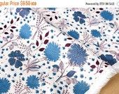 Japanese Kei Fabric La vie en Rose linen - blue on white - 50cm
