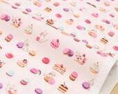 Japanese Fabric Yuwa cat sweets - pink - 50cm