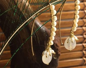 Rainbow Moonstone and Freshwater Pearl elegant dangles