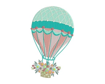 Shabby Chic Hot air Balloon Embroidery Design Machine Embroidery File design 5x7 hoop