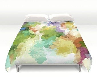 Watercolor Art, Duvet Cover, Pastel Duvet Cover, Queen Duvet, King Duvet, Full Duvet, Modern Bedding, Watercolor Duvet, Art Bedding
