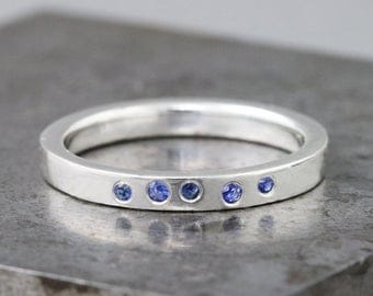 Sterling Silver Band Ring with Blue Sapphires - Scattered Stone Ring - Small Flush Set Blue Stone Ring - Engagement Wedding or Everyday Ring