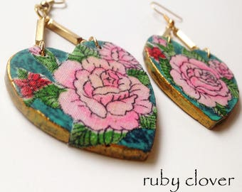 Aqua and Rose Earrings, Turquoise, Big Bohemian Earrings, One of A Kind Art Earrings, Gold, Pink Roses, Vintage Fabric Jewelry, Decoupage
