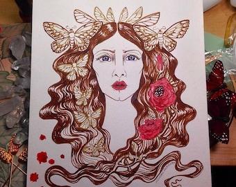 Moth Fairy red rose art nouveau crimson peak inspired ink drawing
