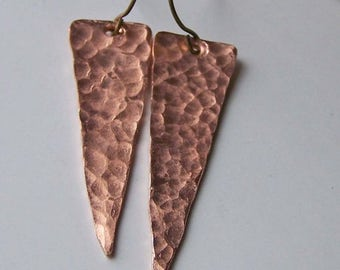 MARCH MADNESS SALE Hammered Earrings, Spear Earrings, Etsy, Etsy Jewelry, Copper, Copper Earrings, Gift, Metalwork Earrings
