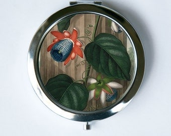 The Winged Passion Flower Compact Mirror Pocket Mirror