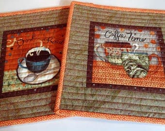 Coffee Time Mug Rugs - Quilted Set of 2 - Size Large