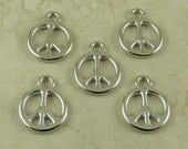 TierraCast Small Peace Sign Symbol Pendant Charms / Hippy Love World Peace Anti War Rhodium Silver Plated Lead Free Pewter 2346
