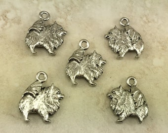 5 Pomeranian Dog Charms > Small Teacup Breed Puppy Canine - Unfinished American made Lead Free Silver Pewter I ship internationally