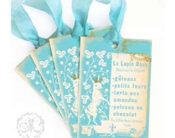 Rabbit gift tags in blue, French Easter bunny, a set of 4