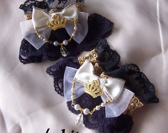 CRYSTAL CROWN Jewellery Lace Wrist Cuffs- All Colours
