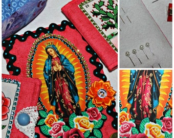 Virgin de Guadalupe Sewing Kit Needle Book Quilting Notion Mexican Gift