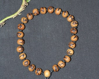 Sandalwood Elder Futhark Rune Mala Bracelet - For Meditation - Pagan, Wicca, Norse, Divination