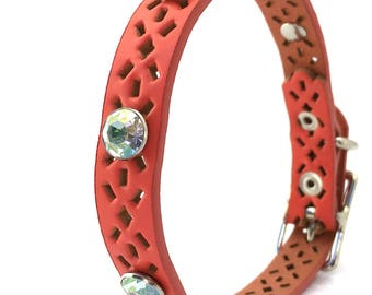Pink Coral Leather Dog Collar with Giant Rhinestones, to fit a 9-12in Neck, Small Dog Collar, Eco-Friendly by Greenbelts Seattle Handmade