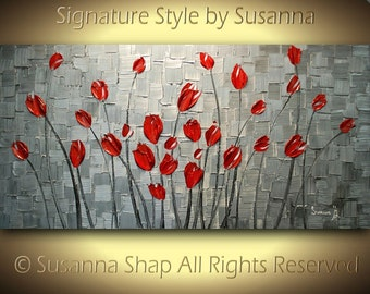 ORIGINAL Abstract Contemporary Heavy Texture Silver Red Tulips Painting Palette Knife Impasto Landscape by Susanna 48x24 Ready to Hang