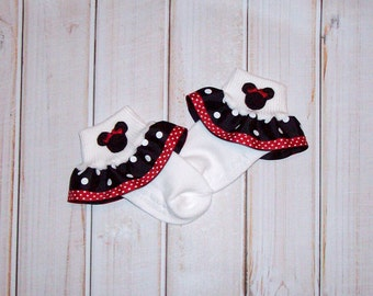 Minnie Mouse Applique Black Dot and Red Swiss Dot Double Ruffle Ribbon Socks - Disney Vacation Trip - to match Minnie Mouse dress or shirt